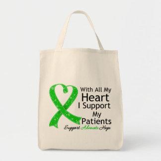 Apoyo a mis pacientes con todo mi corazón bolsa tela para la compra