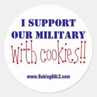 ¡Apoyo a nuestros militares con las galletas!! Pegatina Redonda