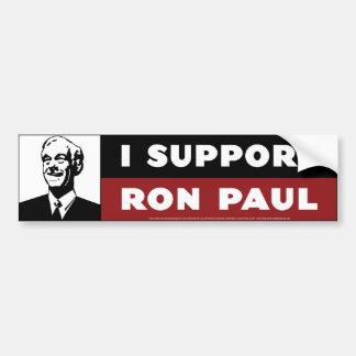Apoyo a Ron Paul - blanco Etiqueta De Parachoque