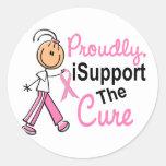 Apoyo al cáncer de pecho de la curación SFT Pegatinas Redondas
