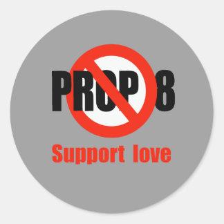 APOYO ANTI 8 - amor de la ayuda Pegatina Redonda