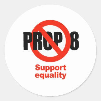 APOYO ANTI 8 - igualdad de la ayuda Pegatina Redonda