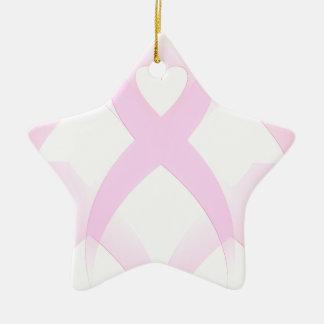 Apoyo, cáncer de pecho Awareness_ Adorno Navideño De Cerámica En Forma De Estrella