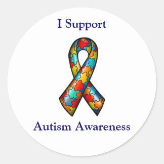 Apoyo conciencia del autismo etiquetas redondas