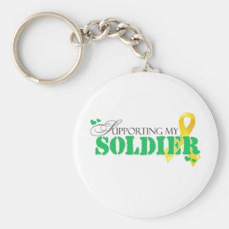Apoyo de mi soldado llavero redondo tipo pin