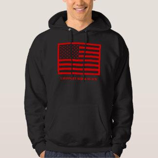 Apoyo el Hoodie. rojo y negro Pulóver