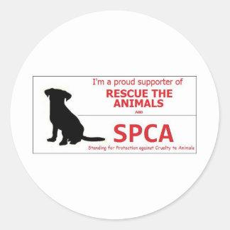 """""""Apoyo el SPCA… """" Pegatina Redonda"""
