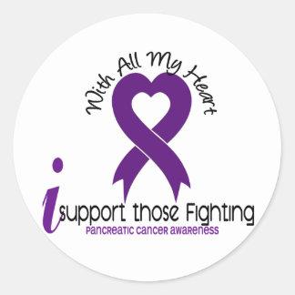 Apoyo ésos cáncer pancreático que lucha etiquetas redondas