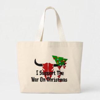 Apoyo guerra en navidad bolsa tela grande