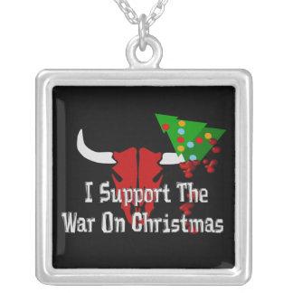Apoyo guerra en navidad collar plateado