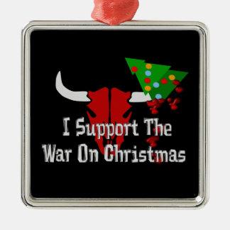 Apoyo guerra en navidad adorno cuadrado plateado