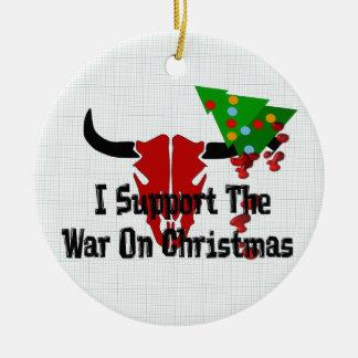 Apoyo guerra en navidad adorno redondo de cerámica