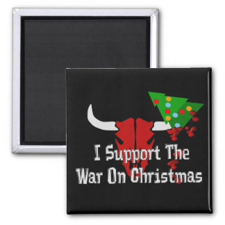 Apoyo guerra en navidad imán cuadrado