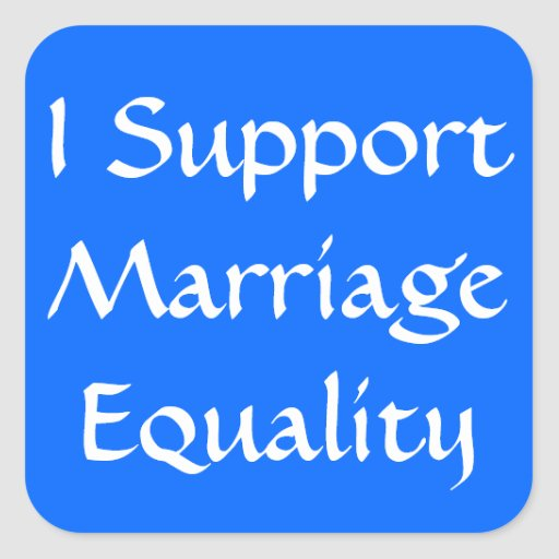 Apoyo igualdad de la boda pegatina cuadrada