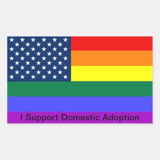 Apoyo la adopción nacional rectangular pegatina