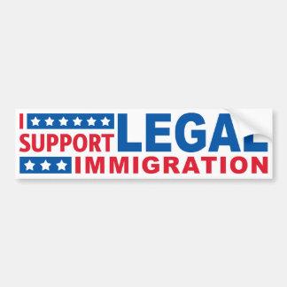 Apoyo la inmigración legal etiqueta de parachoque