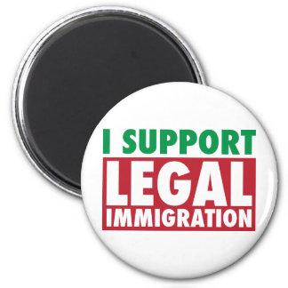 Apoyo la inmigración legal imán redondo 5 cm
