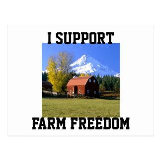 Apoyo la libertad de la granja tarjetas postales