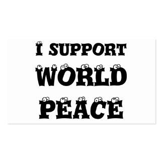 Apoyo la paz de mundo, tarjetas de visita