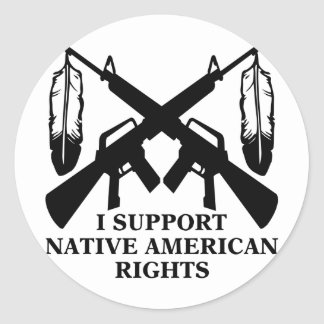 Apoyo las derechas del nativo americano etiqueta redonda