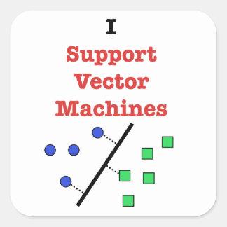 Apoyo las máquinas del vector pegatina cuadrada