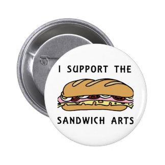 Apoyo los artes del bocadillo pin redondo de 2 pulgadas