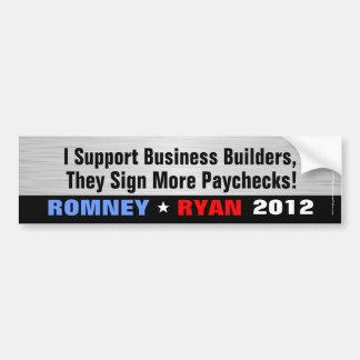Apoyo los constructores del negocio, Romney/etique Etiqueta De Parachoque