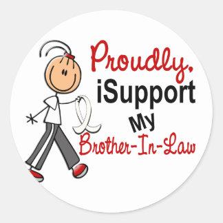 Apoyo mi cáncer del hueso/de pulmón del cuñado SFT Pegatina Redonda