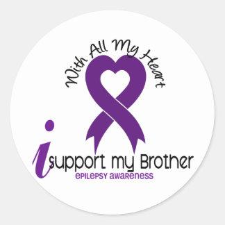Apoyo mi epilepsia de Brother Pegatina Redonda