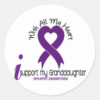 Apoyo mi epilepsia de la nieta pegatina redonda