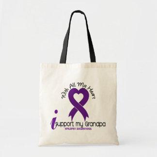 Apoyo mi epilepsia del abuelo bolsas lienzo