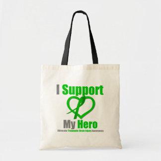 Apoyo mi lesión cerebral traumática del héroe bolsa lienzo