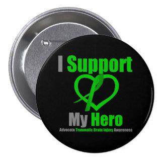 Apoyo mi lesión cerebral traumática del héroe pin redondo 7 cm