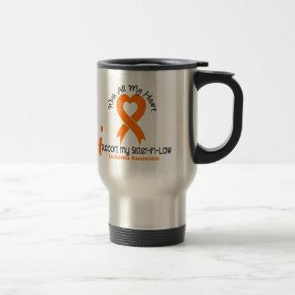 Apoyo mi leucemia de la cuñada taza térmica