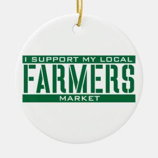 Apoyo mi mercado local de los granjeros adorno redondo de cerámica