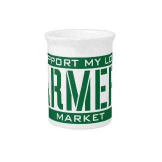Apoyo mi mercado local de los granjeros jarrón