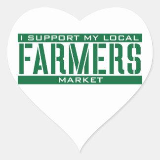 Apoyo mi mercado local de los granjeros calcomanías de corazones