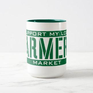 Apoyo mi mercado local de los granjeros taza de dos tonos