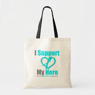 Apoyo mi recuperación del apego del héroe bolsas de mano