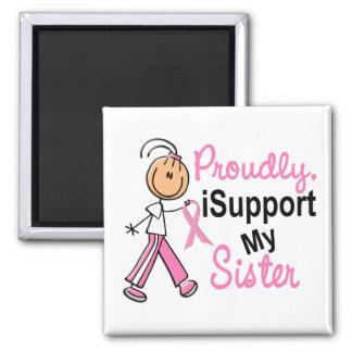 Apoyo mis camisetas del cáncer de pecho de la imán cuadrado