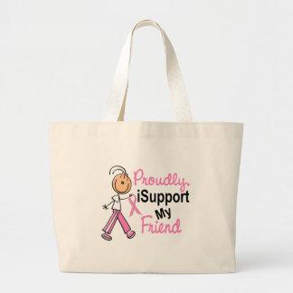 Apoyo mis camisetas del cáncer de pecho del amigo  bolsas de mano