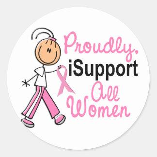Apoyo todos los regalos del cáncer de pecho de las pegatina redonda