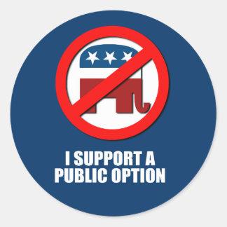 Apoyo una opción pública pegatina redonda