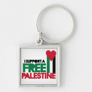 Apoyo una Palestina libre Llavero Cuadrado Plateado