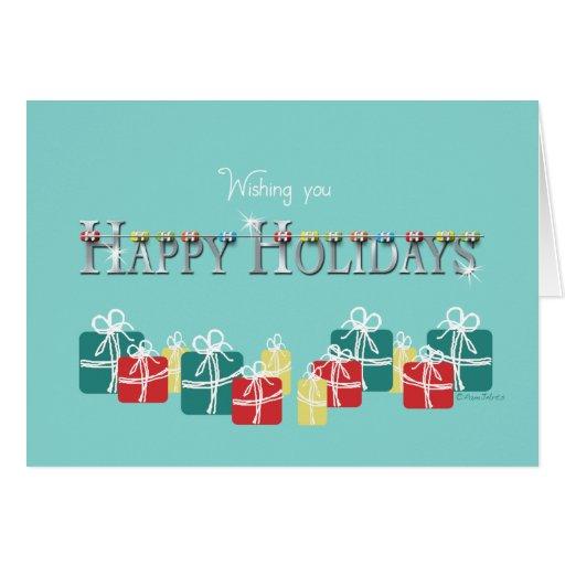 Apoyos y presente del día de fiesta del navidad tarjeta de felicitación