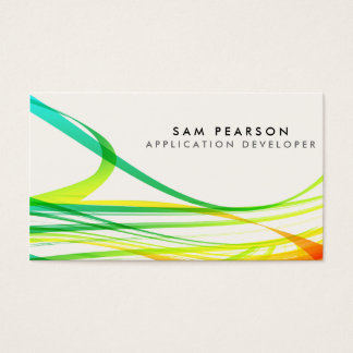 App Developer Colorful Abstract Flowing Streamers Business Card