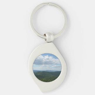 Appalachian Mountains I Shenandoah Silver-Colored Swirl Metal Keychain