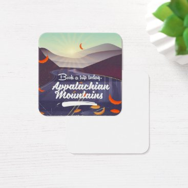 USA Themed Appalachian Mountains vintage travel poster Square Business Card