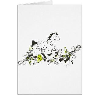Appaloosa del leopardo con la impresión floral tarjeta de felicitación