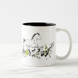 Appaloosa del leopardo con la impresión floral taza de café de dos colores